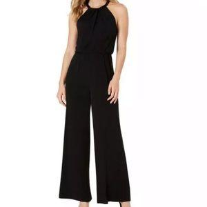 Calvin Klein Black Jump Suit Beaded Collar